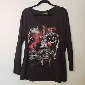 Seven7 Luxe Long Sleeve Embellished Tee Size 18/20